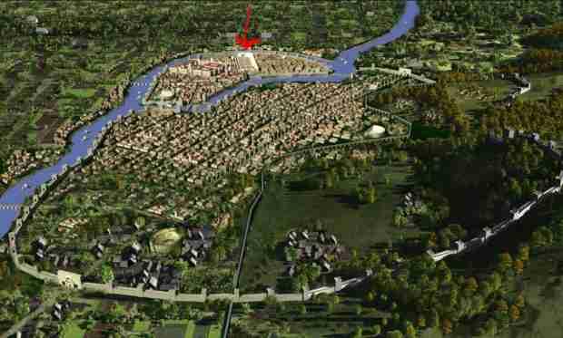 Antiochia com'era ai tempi romani, con l'ippodromo segnalato dalla freccia rossa. Qui sotto venne sepolto l'amuleto ebraico di Antiochia