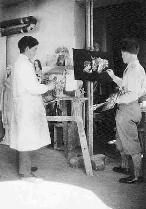 Domenico Chiocchetti imparando a dipingere, Italian Chapel