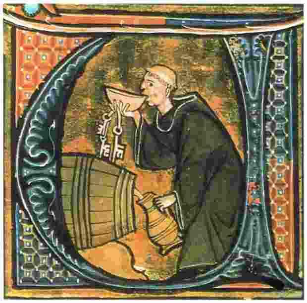 Monaco bevendo idromiele, ingrediente usato dai Medici di Myddfai.
